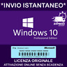LICENZA ORIGINALE WINDOWS 10 PRO 32/64 BIT - PRODUCT KEY - INVIO ISTANTANEO