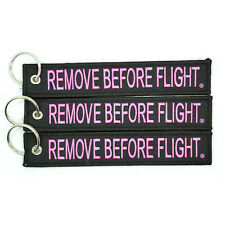 3 Pack Remove Before Flight Key Chain Black & Pink aviation truck motorcycle