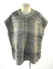 PURE J JILL Brown Wool Mohair Knit Boxy Poncho Style Sweater Jumper Womens M / L