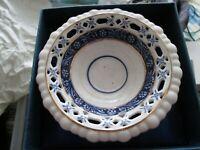"Blue And White Pedestal Dish. hand painted bone china. in box, 4.5"" diameter"