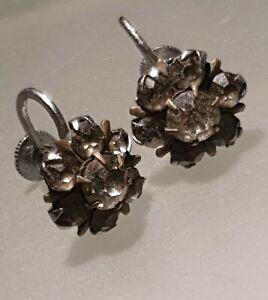 Vintage Earrings Clip On Screw Back Ladies Rhinestone