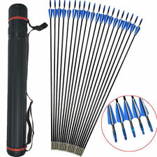 """12pc 31"""" Archery Fiberglass Arrows Practice Nocks Fletches Target Point + Quiver"""