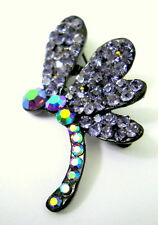 New Rhinestone Dragonfly Pin Brooch Black Iridized RS Body Glittery Pin Back