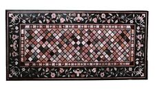 """30""""x54"""" Black Marble Dining Coffee Table Top Marquetry Inlay Mosaic Style H1556"""