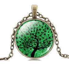Bronze Tree of Life Glass Cabochon Pendant Necklace, Sacred Tree, TL58