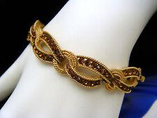 Crown Trifari Vintage Bracelet Cavalcade Line Brown Rhinestone Gold Tone