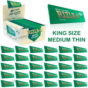 RIZLA GREEN KING SIZE MEDIUM THIN CIGARETTE ROLLING PAPERS 5,10,15,50 BOOKLETS