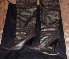 JUST CAVALLI FASHIONABLE GOLDEN BOOTS WITH DUST BAG,8,SLIP ON