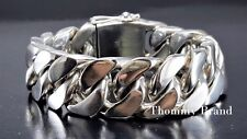 """8.5"""" 317g HEAVY CHUNKY CUBAN CURB CHAIN LINK STERLING SILVER 925 MENS BRACELET"""