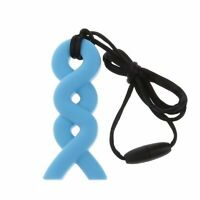 Twist Sensory Chew Silicone Necklace Pendant BPA Free Autism ADHD UK Seller Blue