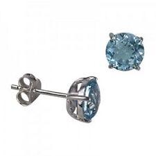 NEW Genuine Solid 925 Sterling Silver Natural Blue Topaz Ladies Stud Earrings