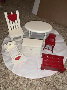 """Lot Wood Furniture With Hearts For 6-8"""" Dolls Ginny Hitty"""