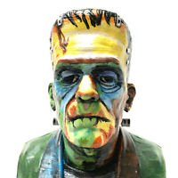 Artist Design One Of A Kind Frankenstein Hand Painted Bust Wooden Base