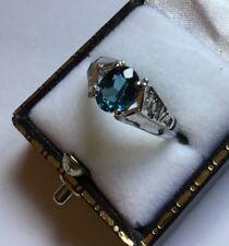 GTV Hallmarked HM Sterling Silver Oval Teal Gemstone Love Shoulders Ring ? Topaz