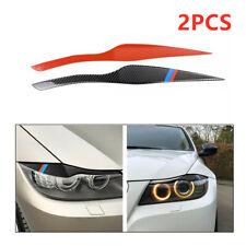 2Pcs Carbon Fiber Car Headlight Eyelid Cover Decoration Sticker DIY for BMW E91