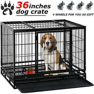 """Dog Crate Cage 36""""/42""""/48"""" Dog Kennel Pet Playpen Plastic Tray Double Doors"""