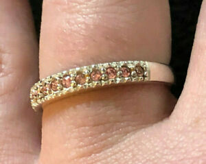 Sterling Silver Ring Pink CZ Band Stackable AVON Sz 8 1.7g 925 #1333