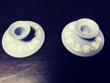 Wedgewood Blue Jasperware Candlestick Holders Set Of Two
