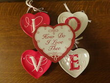 New listing MWW Market HOW DO I LOVE THEE Valentine Mini Plate Set of 4 In Original Box!