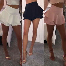 Summer Women Layered Ruffled Frill Skorts High Waisted Party Mini Skirt Shorts
