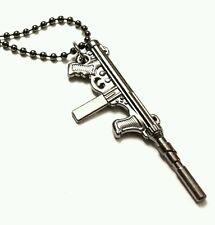 Silver rifle gun pendant necklace gunmetal coloured chain 18 inch