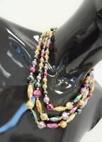 Vintage 1950s  Beaded 3 String Necklace Multi Colour  Deadstock   Kitsch   328 G
