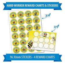 96 30mm Reward Stickers & 4 Reward Charts, Children, Teachers, Award, Bee Theme.