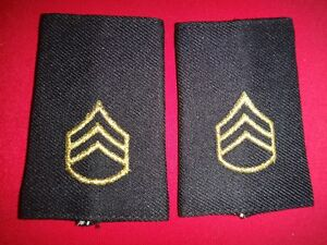Pair Of US Army STAFF SERGEANT Rank E-6 Shoulder Badges Small Epaulets (Female)