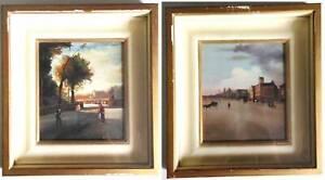 Couple Peintures Sur Rame Paysages Citoyens Signé Gulden Avec Cadre 16x14 CM