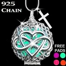 Silver Celtic Cross Aromatherapy Essential Oil Diffuser Locket Necklace +7 Pads