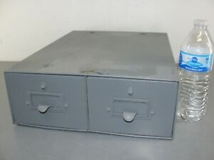 STEEL INDEX CARD FILE CABINET 2 LATCHING DRAWER INDUSTRIAL ANTIQUE TOOL BOX 🧰