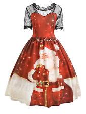 PLUS SIZE 5XL Christmas 50's Swing Dress Rockabilly Pin Up Retro Vintage XMAS