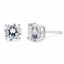 Sterling Silver 925 Basket Stud Earrings Round Cut CZ Cubic Zirconia