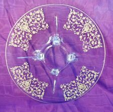OLD Elegant gold decorated footed glass serving platter oderve plate