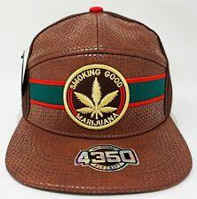 MARIJUANA Snapback Cap Hat 420 Weed Pot Smoking Faux Leather Brown NWT