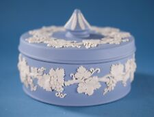 Vtg Wedgwood Blue Jasperware Round Powder Box