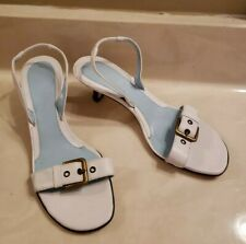 **VANELI** WHITE LEATHER SLINGBACK STRAPPY SANDALS Shoes, SIZE 5.5M