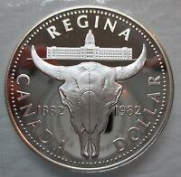 1982 CANADA REGINA CENTENNIAL PROOF SILVER DOLLAR COIN