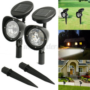 Solar Powered 4 LED Spot Lights Spotlight Wall Garden Outdoor Path Lamp