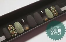 Hand Painted False Nails Military Pattern Black Matte Ombre Gems Sugar Effect