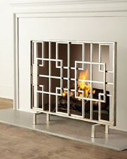 pertaining fireplace photo screen mid screens century to silver colored contemporary awesome