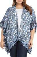 Karen Kane Womens Jacke Blue Size 2X Plus Floral Drape Front Kimono $119 055