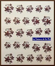 STICKERS ONGLES WATER DECAL (x25) - Nail art - Fleurs - Marron & noir