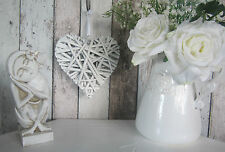 SHABBY CHIC WHITEWASHED WOVEN WICKER HEART HANGING / WEDDING DEC - SMALL SIZE