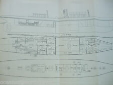 ANTIQUE PRINT C1895 DIXON KEMP YACHT & BOAT MAID OF HONOUR STEEL STEAM YACHT