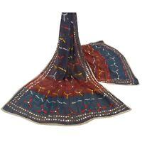 Sanskriti Vintage Dupatta Long Stole Ooak Blue Hand Embroidered Phulkari Shawl