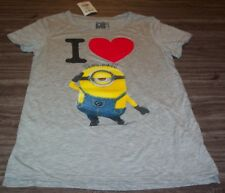 WOMEN'S TEEN DESPICABLE ME I LOVE MINIONS T-shirt XS NEW w/ TAG
