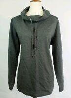 Karen Scott Women Plus Size Funnel Neck Top 0X 1X 3X Gray Drawstring Long Sleeve