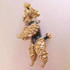 Vintage Panetta Ornate Gold Tone Pave Rhinestone Dancing Poodle Dog Brooch Pin