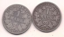1877-A & 1878-A  Germany Silver One Mark--Honest Wear !!